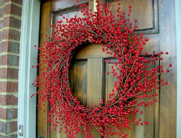 как украсить входную дверь к новому году2