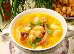Суп с копчеными ребрышками и гороха
