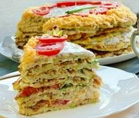 Торт из кабачков с помидорами